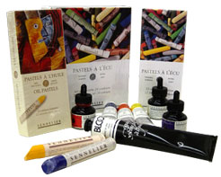 Sennelier oils, pastels, charcoal and varnishes